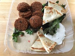 Carryout: Falafel - Supposed to have 8 in order but only given 6, comes with pita, tzatziki, hummus.