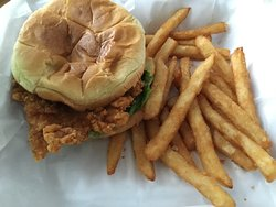 Carryout: Fried Chicken Breast Sandwich with lettuce, tomato, mayo, and fries