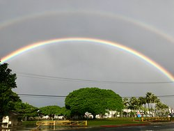 Double rainbow over the Pearl Harbor Visitor Center.