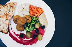 Mezze platter with homemade dips and falafel!