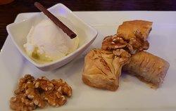 Baklava served with Vanilla Ice Cream & Walnuts