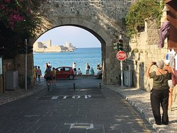 View looking out of the outer wall of the medieval city