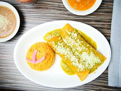 Lunch Special   #3  two beef enchiladas with tomatillo sauce; served with red rice and beans