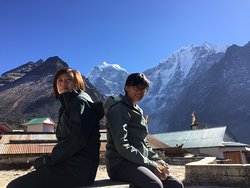 Relaxing and enjoying the 360 degrees of mountain views at Tengboche Monastery.
