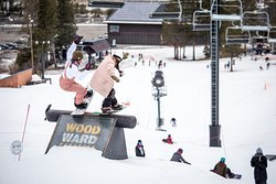Snowboarding is best with friends! Coaches Christine Savage and Fancy Rutherford putting on a clinic at the Woodward Tahoe weekend camp. April 2018.