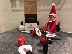 Naughty elf causing havoc in our Serenity Beauty Salon.