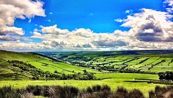 View of Upper Nidderdale looking back down the dale towards Gouthwaite Reservoir.