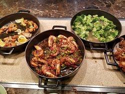 Lemon Chicken, Sautéed shrimp, Garlic Broccoli