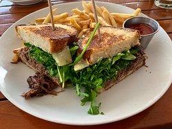 My Beef Short Rib Melt sandwich & Fries.........darn good!