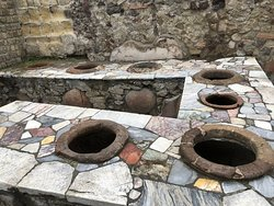 An early fast food destination, tureens of soup would have been served here - but I loved the colorful stonework
