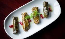 Dolmades: Grape Leaves stuffed with rice and veggies