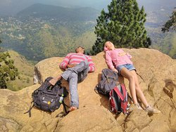 Relaxing on the top of Ella Rock