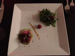 Mushroom amuse bouche with fresh greens and local cheese