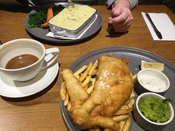 Fish & Chips with fish cakes at top