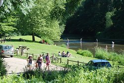 The perfect place to relax and unwind on the banks of the river outside the entrance to the campsite.
