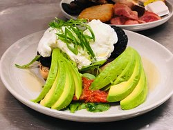 Breakfast - Eggs, avocado, mushroom & tomoato on cibatta bread
