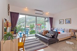 Our wonderful Studio Room is located in Chic Condo with 650 distance from Karon Beach. Only a 100 m away to Shops, restaurants, Spa & Night life. A 44 sqm studio with a peaceful view on the mountain and big balcony. The apartment is finely decorated and equipped completely to assure you a comfortable and pleasant stay. This beautiful studio can welcome 2 additional adults with a third available bed. Supply with a fully-equipped kitchen and a big bathroom provides with a bathtub.