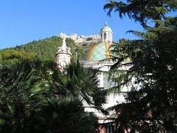 Campanile e cupola della SS.Annunziata tra le fronde degli alberi del parco