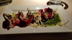Cold beet ravioli appetizer