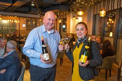 Charlotte Hugel co hosting a wine dinner.