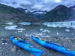 Kayaks all ready at Spencer Glacier