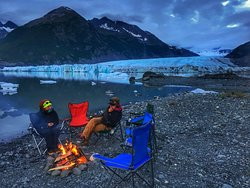 Guides on an overnight at Spencer Glacier