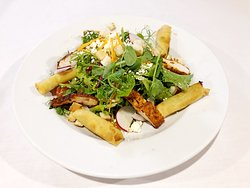 Big garden Salad  Add chicken and spring rolls