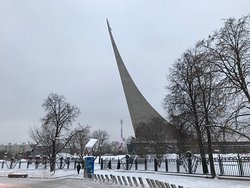 VIEW OF THE MONUMENT TO CONQUERORS OF SPACE AS SEEN IN DECEMBER 2018.