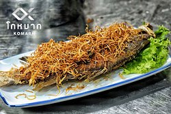 Deep fried whole fish with crispy ginger