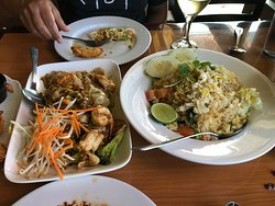 Excellent fried rice and drunken noodles