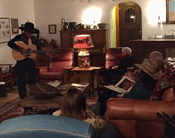 The lodge is a great place to relax in the evening, Authentic decor from the early 1900's help you disconnect from the outside world. Instead of TV, we have music, games, cowboy poetry, and plenty of quiet time.