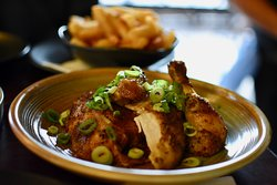 """The """"Dirty Bird"""" rotisserie chicken at Mrs Browns. This is one delicious bird - actually its half a bird but plenty to share between two with chips."""