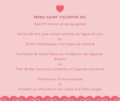Menu St Valentin jeudi 14/01/19 soir