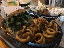 Yummy curly fries with burger