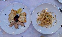 Paté and calamari apps