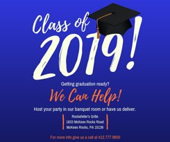 Graduation party this summer? We have a banquet facility with seating for 40-170 guests or we can deliver the party food to you! Call Nicole at 412-403-3317 for information