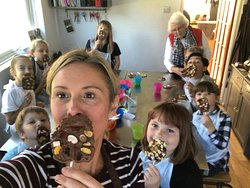 The Twits chocolate workshop was very popular. Mr Twit's beard made for a great selfie!