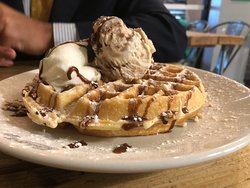 Delicious Nutty and Nice!  (Hot crepe or waffle topped with vanilla Gelato, nuts, toffee sauce and whipped cream-£5.50)