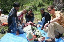 Wilderness First Responder Course 2010 in Himalayasin collaboration with AERIE US at NDI base camp Kuflon Uttarkashi