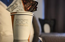 Complimentary Wolfgang Puck In Room Coffee.
