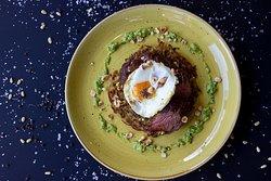 Onglet  Beef Onglet / Scotch Bonnet Pesto / Nora Pepper / Hazelnut / Fried Egg / Potato Rosti