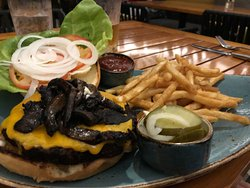 Black Bean Burger with added Balsamic Grilled Portobello