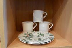 We sell crockery in our shop corner