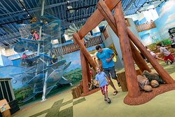 The indoor prairie features a farm, a sod house, a place to climb the clouds and more!