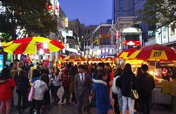 This is BIFF street. You can try some street food and see hand print of celebrity of Korea on the ground.