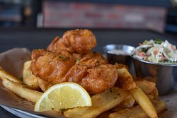 Hand battered Fish & Chips with coleslaw