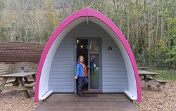 Outside the furnished family pod at Cwmcarn forest drive