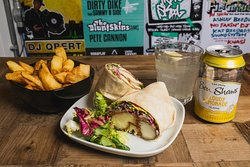 Halloumi Wrap with Spicy Coleslaw and Chunky Skin-On Chips and Ben Shaws Cloudy Lemonade