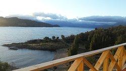 Vista desde el balcón de la cabaña.