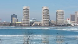 Looking across to Detroit from Riverside Drive, Windsor